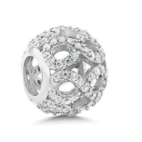 925 Sterling Silver White CZ Infinity Round Bracelet Bead Charm Compatible W/ Pandora Bracelets (Gem Stone King Bead Bracelet compare prices)