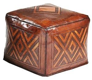New World Trading Large Ottoman, Diamond, Antique Brown