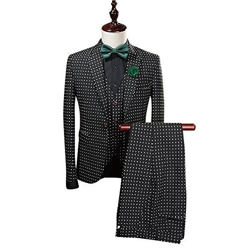 Mens-Modern-Polka-Dots-Printed-3-Piece-Suit-Slim-Fit-Jacket-Tux-Vest-Trousers