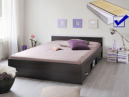 Jugendbett, Bett 140x200 cm kaffeefarben + Lattenrost + Matratze + Bettkasten Singlebett Kinderbett Leader 5.1