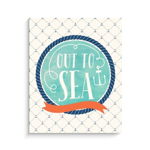 "Lucy Darling Nautical Out To Sea Watercolor Print Wall Decor, 8"" x 10"" - 1"