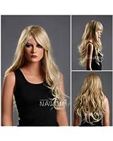 (WG-ZL174-27T613) Long Wave Hair Wig, Golden blonde color.