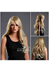 (WG-ZL174-27T613) Long Wave Hair Wig, Golden blonde color.