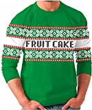 Fruit Cake Snow Flake Holiday Print Tacky Adult Green Ugly Christmas Sweater