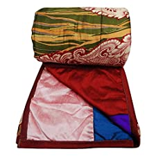tamaño cuna colcha de retazos de seda dupión Gudri multicolor decoración del hogar colcha india 56