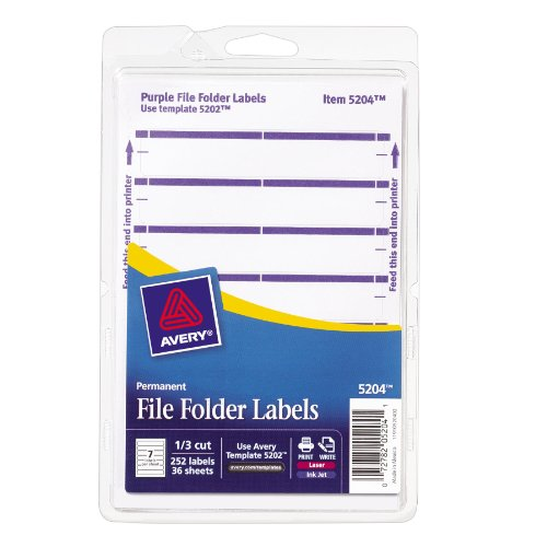 Avery Print or Write File Folder Labels for Laser and Inkjet Printers, 1/3 Cut, Purple, Pack of 252 (5204)