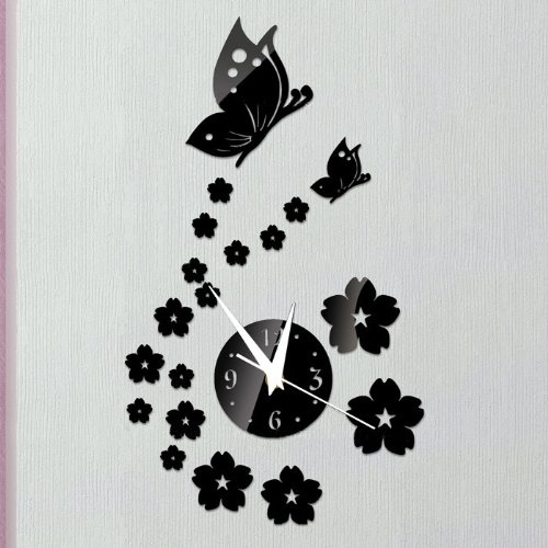 Toprate(TM) Beautiful Butterfly and Flowers Wall Clock Fashion Mirror Wall Clock Removable DIY Acrylic 3D Mirror Wall Decal Wall Sticker Decoration (Black)