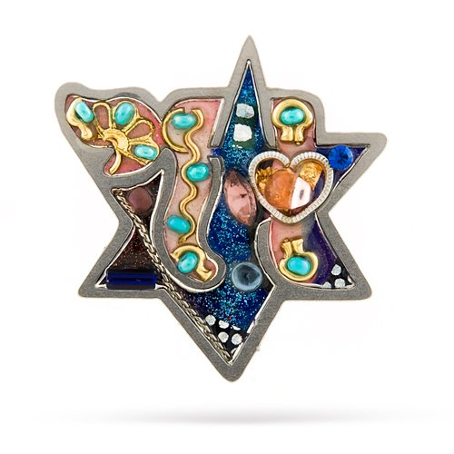 Judaic Star with Chai Pin from the Artazia Collection #767 JP OP