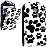 FOR SAMSUNG CHAT S3350 DOG FOOT CAT FOOT PRINT LEATHER FLIP CASE COVER POUCH