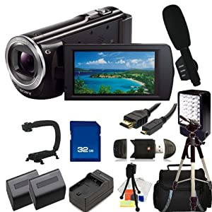 Sony 16GB HDR-CX380 HD Handycam Camcorder with 32GB SD, Reader, 2 Extended Life Replacement Batteries, Charger, HDMI, LED Video light, Microphone, Stabilizer, Case, Tripod - SSE Accessory Kit