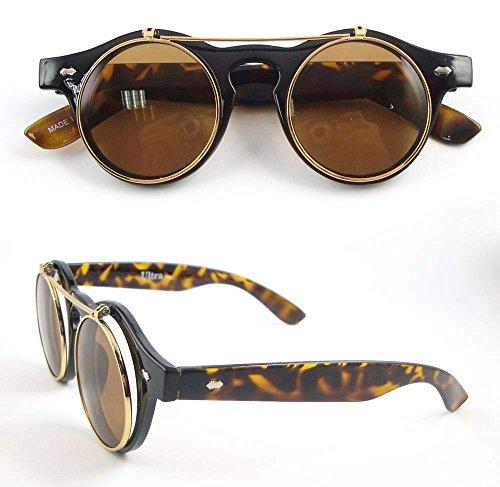 Ultra® stampa del grano/Tiger Leopard Armament qualità premium di cerchio Steampunk alta qualità occhiali occhiali retrò Cyber UV400 occhiali da sole Leopard grani tondi con nero custodia