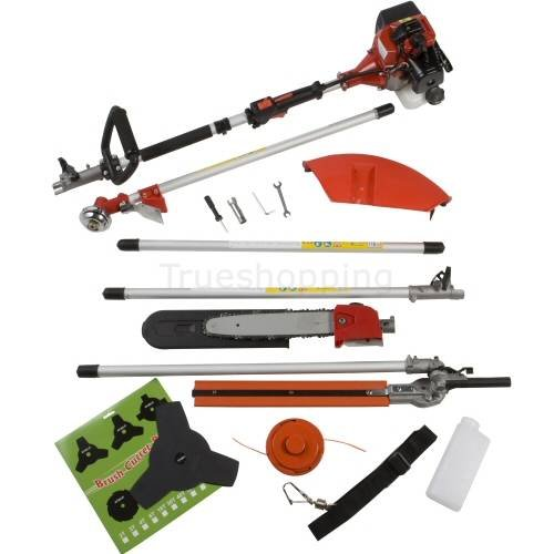 NEW TRUESHOPPING PETROL LONG REACH MULTI FUNCTION 5 IN 1 GARDEN POWER TOOL INCLUDING: HEDGE TRIMMER, STRIMMER, BRUSHCUTTER, CHAINSAW & FREE EXTENSION POLE 2-STROKE 52CC
