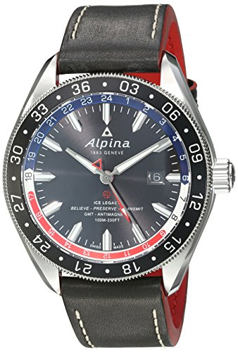 Alpina-Mens-Alpiner-4-GMT-Automatic-Stainless-Steel-and-Leather-Casual-Watch-ColorBlack-Model-AL-550GRN5AQ6