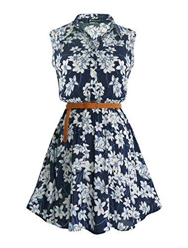 Allegra K Women Floral Prints Sleeveless Belted Shirt Dress S Dark Blue