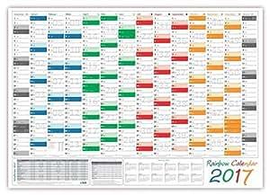 Rainbow Wandkalender 2017 - gerollt versendet, Wandplaner im DIN A2 Format (594 x 420 mm) mit 14 Monaten, kompletter Jahresvorschau 2018 und Ferientermine/Feiertage aller Bundesländer