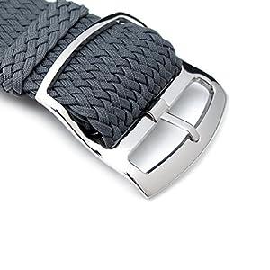 20 mm Correa de Reloj de perlón MiLTAT, de Nylon trenzado de color gris oscuro, pulido de bloqueo de la escalera de la hebilla por MiLTAT