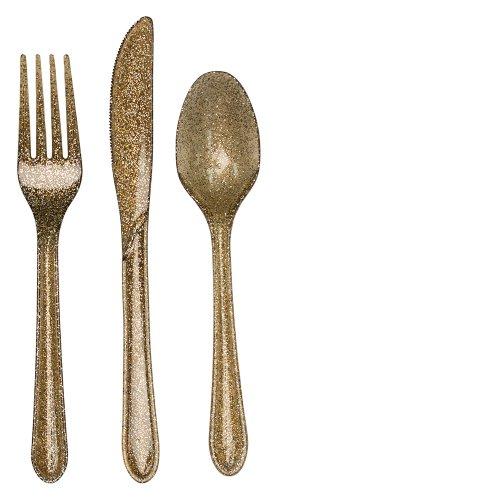 Creative Converting Premium Plastic Glitz Gold Glitter Cutlery, 24 Utensils Per Package
