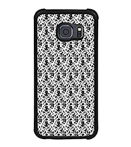 ifasho Animated Pattern black and white jasmin flower Back Case Cover for Samsung Galaxy S6 Edge