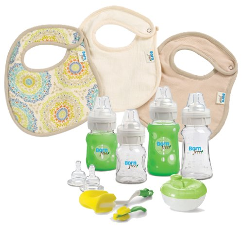 Born Free Glass Bottle Starter Set With 3 Pack Muslin Bibs front-787928