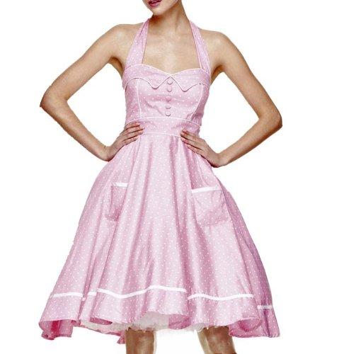 HELL BUNNY Swing 50s DRESS OLIVIE Polka Dot PINK