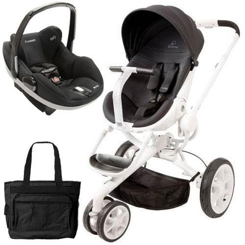 Quinny CV078BIK Moodd Prezi Travel system w Diaper bag and car seat - Black Irony