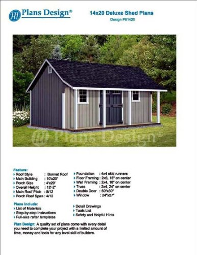 14 X 20 Storage Shed With Porch Plans For Backyard Garden