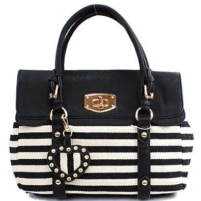 Designer Inspired Stripe Pattern Flip Over Tote Bag