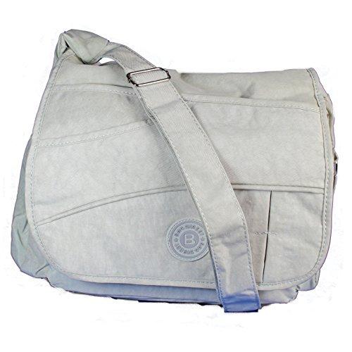Cringel Nylon Umhängetasche / Schultertasche / Überschlagtasche / Stark Wasserabweisend / Tasche / Passend für Freizeit Schule oder Uni / Masse: 34 cm x 26 cm x 12 cm (Hellgrau)