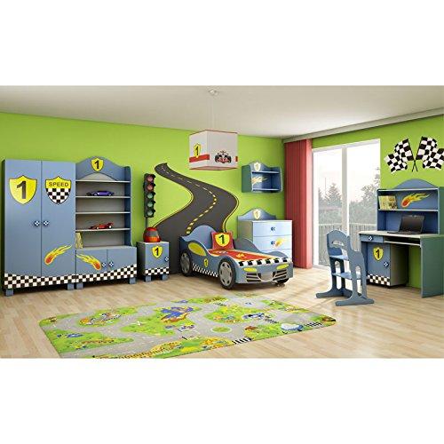 Kinderzimmer Kindermöbel für Jungen im Auto-Stil Möbelset SUPER SPEED blau bestellen