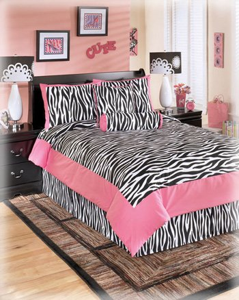 Great Ashley Furniture Piece Glamour Zebra Print Youth Comforter Set Full Pink and