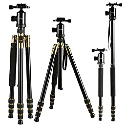Camera Tripod, K&F Concept Pro 64 inch Light Weight Portable Travel DSLR Tripod/Monopod 4 Section Compact Tripod with 360 Rotate Ball Head and Carry Case for Canon Nikon Sony Olympus DSLR SLR Photo