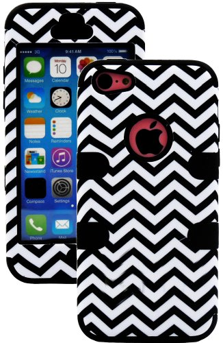 Mylife (Tm) Black + White Chevron 3 Layer (Hybrid Flex Gel) Grip Case For New Apple Iphone 5C Touch Phone (External 2 Piece Full Body Defender Armor Rubberized Shell + Internal Gel Fit Silicone Flex Protector + Lifetime Waranty + Sealed Inside Mylife Auth