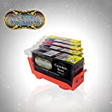 Edible Ink Cartridges for Canon CLI-226 & PGI-225 (5 pack) with RESETTABLE CHIPS