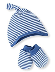 2 Piece Cotton Rich Striped Hat & Mittens Set