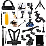 Luxebell 14-in-1 Accessories Bundle Kit for Sony Action Camera Hdr-as15 As20 As30v AS50 As100v As200v Hdr-az1 Mini Sony Fdr-x1000v, Chest Mount / Head Mount / Suction Cup / Selfie Stick / Bobber