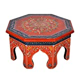 Hand Painted Work Design Wooden Round Bajot & Chowki Table 13 X 13 X 6 Inches