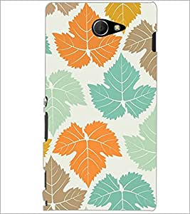 PrintDhaba Leaves Design D-1444 Back Case Cover for SONY XPERIA M2 (Multi-Coloured)