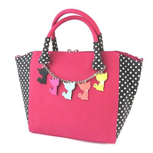 Bag designer 'Lollipops'rosa piselli neri - 37x24x13.5 cm.