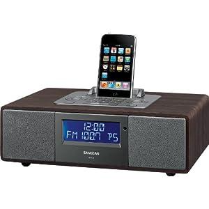 Sangean WR-5 Hi-Fi AM/FM-RDS Table-Top Radio with iPod Dock (Dark Walnut)