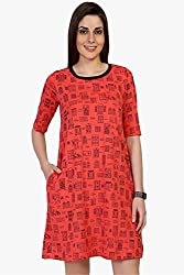 Funk For Hire Women Cotton Sinkar knit Wall printed sleeved Short Dress (Coral Red, Size L)