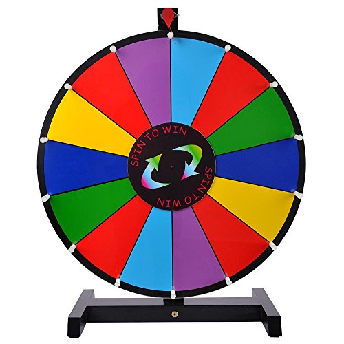 18-inch Round Tabletop Color Dry Erase Spinning Board Prize Wheel 14 Click Slots w/ Wood Stand for DIY Customize Template Desk Top Casino Style Drawing Game (Portable Spinning Wheel compare prices)