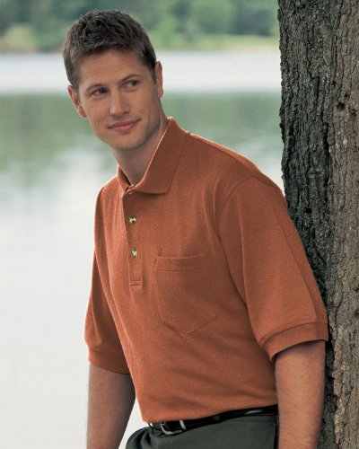 TriMountain Men's Big and Tall Stylish Pique Knit Golf Shirt, Burnt Orange, XXXLarge. 106 Picture