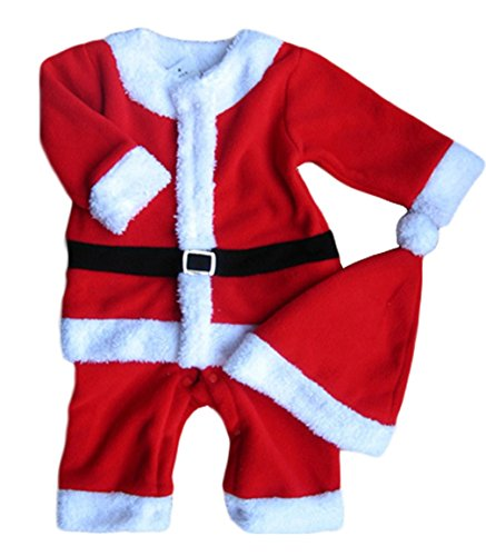 Kibby Baby Boys Xmas Santa Claus All-in-one Costume Romper Outfit + Hat, 2-pc