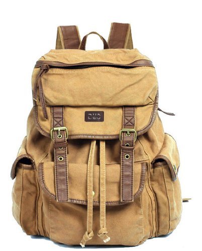 Serbags Vintage Canvas Leather Travel Rucksack Military Backpack - Light Brown 0