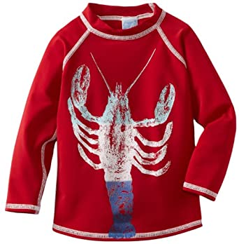 Charlie Rocket Boys 2-7 Long Sleeve Graded Lobster Rashguard, Red, 6
