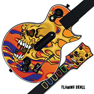 Mightyskins Protective Skin Decal Cover Sticker for GUITAR HERO 3 III PS3 Xbox 360 Les Paul - Flaming Skull