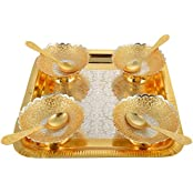 Rajasthani Brass Golden And Silver Plated Tray With 4 Bowls And 4 Spoons (18 Cm X 7 Cm X 18 Cm, Golden)