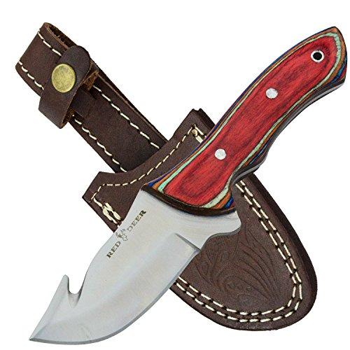 Red Deer Gut Hook Skinning Knife Multi Color Pakka Wood