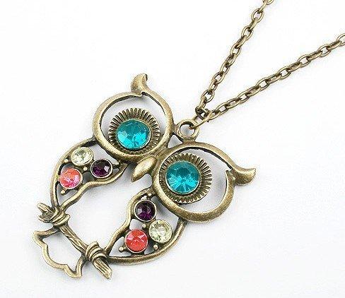 Lange Retro Halskette Kette mit süßem Eulen-Anhänger mit blauen Augen