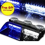 16 LED High Intensity LED Law Enforcement Emergency Hazard Warning Strobe Lights For Interior Roof Dash Windshield With Suction Cups (Blue and White)